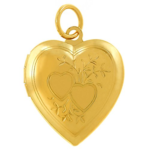 Lifetime Jewelry Photo Locket for Women and Girls [ Two Hearts ] - 20X More Real 24k Gold Plating Than Other Heart Locket Necklaces That Hold Pictures (Yellow Gold Pendant Only)