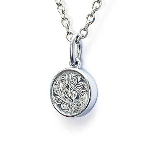 Hawaiian Pendant by Austaras - Coin Necklace Pendant for Women and Men. 316L Stainless Steel 925 Sterling Silver Plated Engraved with Hibiscus Flower Hypoallergenic Jewelry with Expandable Chain