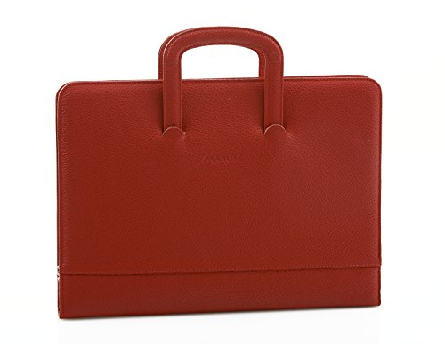 Professional Business Leather Padfolio Portfolio Briefcase Style With Handles - Made in Italy - Red by Maruse