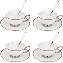 ARTVIGOR 12-Pieces White Silver Rimmed Tea and Coffee Service Set, New Bone China Cups & Saucer Sets with Spoons