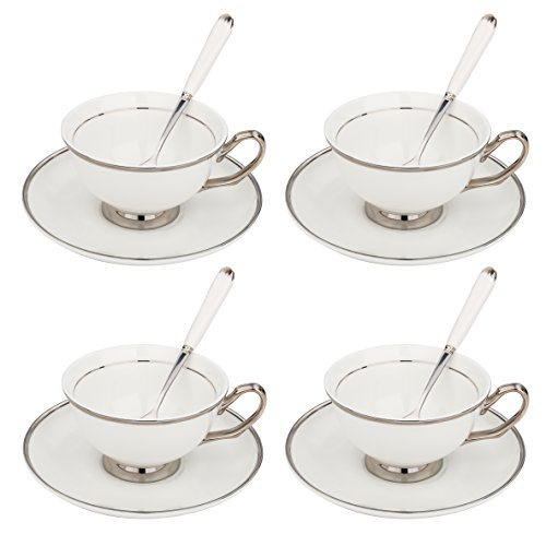 hite Silver Rimmed Tea and Coffee Service Set, New Bone China Cups & Saucer Sets with Spoons (12 Piece Set Coffee Cups)