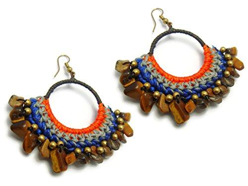 CHADADA CHADADA Jewelry Tribal Multi-Colored Rope Brass Gemstone Drop Dangle Earrings Handmade (Tiger Eye), ET8 price tips cheap