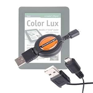"DURAGADGET-Cable retráctil de carga y sincronización micro USB-USB compacto para lector de eBooks PocketBook Color Lux E-Ink 8 ""con pantalla retroiluminada"