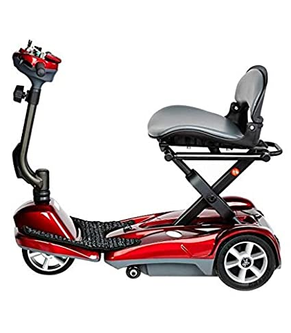 EV Rider Transport AF-Auto Folding Scooter with Free Front Tiller Bag-Red