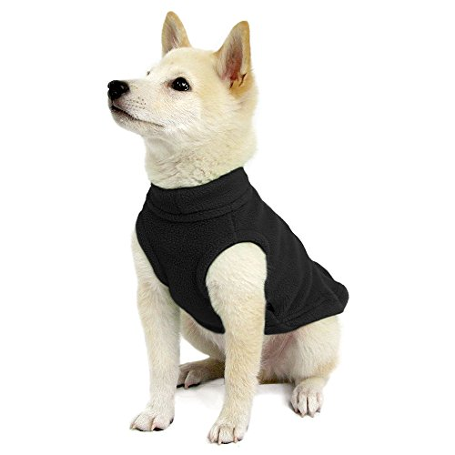 Gooby - Stretch Fleece Vest, Pullover Fleece Vest Jacket Sweater for Dogs, Black, Medium - Vest Dog Sweater