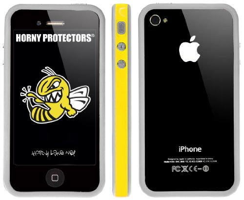 Horny Protectors® Schutzhülle Cover Case Bumper (nicht 4S) für Apple iPhone 4 Gelb Weiß TPU + Silikon