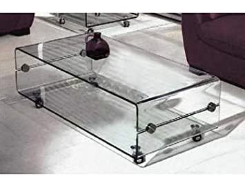 2 Tier Clear Bent Glass Coffee Table With Wheels 120 X 65 X 45cm Part 51