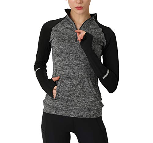 Women's Yoga Long Sleeves Half Zip Sweatshirt Girl Athletic Workout Running Jacket gy l