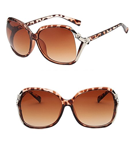 Nuni Women's 15838 Rose Detail Vented Lens Oversized Sunglasses (brown - Brown Sunglass Lenses
