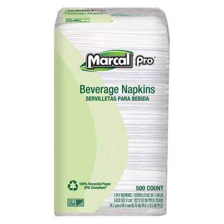 Recycled Beverage Napkins, 1-Ply, PK8 ()