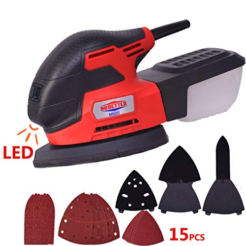 Dobetter Mouse Detail Sanders, Electric Power Sander with 18Pcs Sandpaper 13000 OPM Sanding Machine Multi Wood Sander for Tight Corner Polishing -MS20