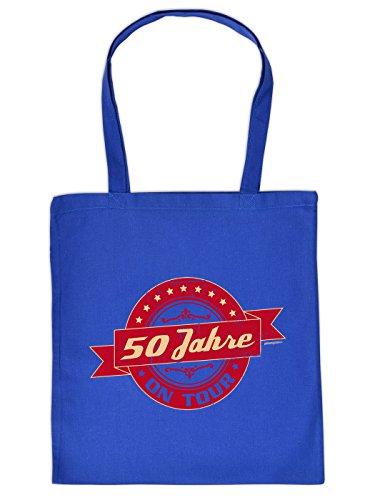 Geschenkidee zum 50. Geburtstag: Unisex Jutetasche/ Einkaufstasche/ Stoffbeutel/ 50 Jahre on Tour Racer Style