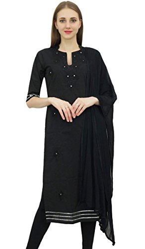 Noir brode coton Dress Suit Salwar Readymade Salwar Pantalon Indian Atasi Kameez de PR6TqxB