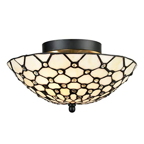 EUL Tiffany Style Semi Flush Mount Ceiling Fixture Antique Brass & Art Colorful Glass Shade-3 Lights (Lighting Tiffany Style Kitchen)