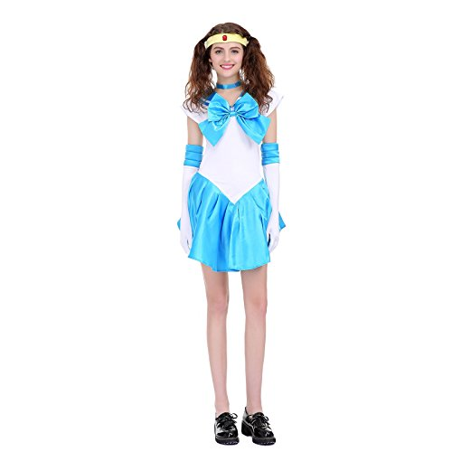 Angelaicos Womens Color Block Bowknots Costume Dress (M, Sky (Moon Halloween Costumes)