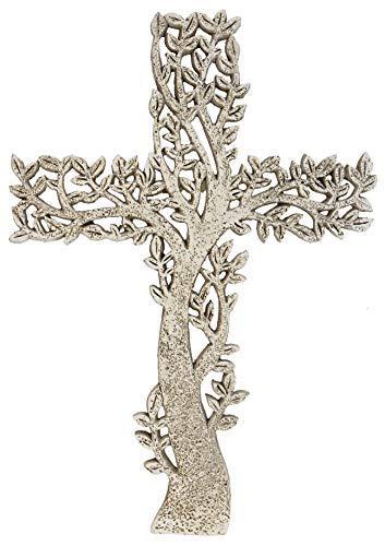 DeLeon Collections Tree of Life Wall Cross - Rustic Stone Look Decorative Spiritual Art - Cross Decorative