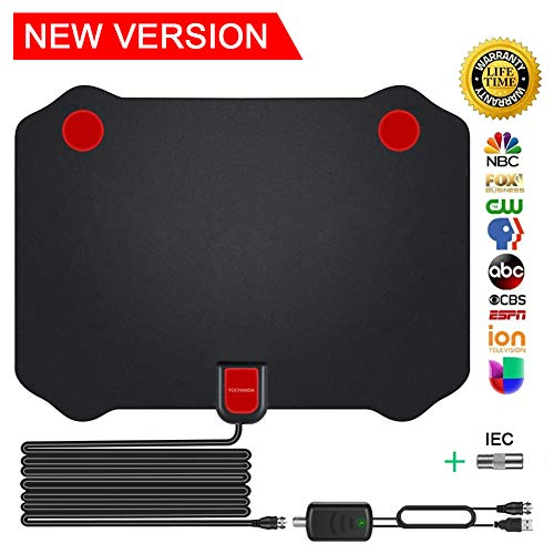TV Antenna Indoor Digital Amplified HDTV Antennas Receivers 70-100 Miles Range with Detachable Amplifier Signal Booster for Free Local Channels 4K HD 1080P VHF UHF All TV