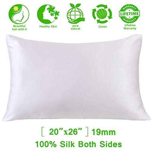 (Mulberry Silk Pillowcase for Hair and Skin,Satin Pillowcase,Silk Pillow Case&100% Pure Natural 19 Momme 6A Slip Satin Silk Pillow Case Cover Hair Silk Pillowcase Standard with Zipper for Women White)