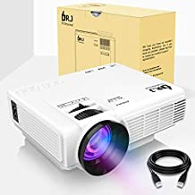 "DR.J (2018 Upgraded) 4Inch Mini Projector with 170"" Display - 40,000 Hour LED Full HD Video Projector 1080P Supported, Works with Amazon Fire TV Stick, HDMI,VGA,USB,AV,SD for Home Theater"
