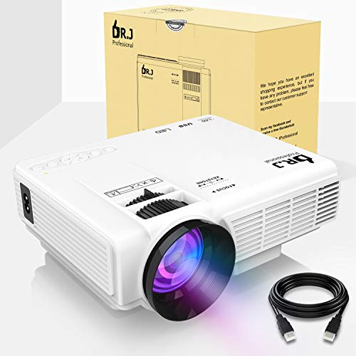 DR.J (2018 Upgraded) 4Inch Mini Projector with 170' Display - 40,000 Hour LED Full HD Video Projector 1080P Supported, Works with Amazon Fire TV Stick, HDMI,VGA,USB,AV,SD for Home Theater
