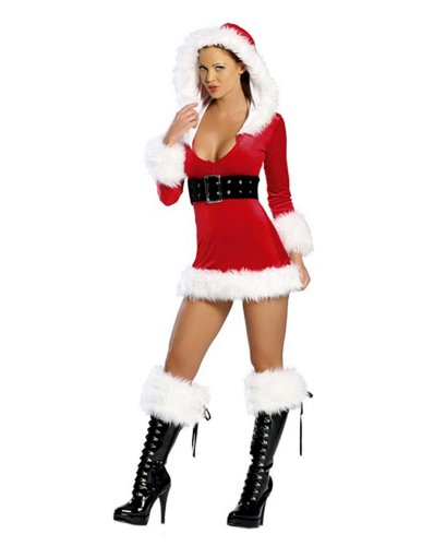 Mrs Claus Sexy Outfit (2 Pc. Sexy Santa Stretch Velvet and Faux Fur Dress)