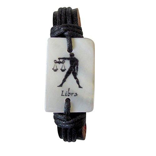 Black Leather Zodiac Signs Adjustable Bracelets Choose Your Sign (LIBRA)
