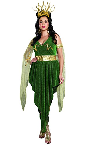 Dreamgirl Women's Plus-Size 3-Piece Medusa Costume, Green, 1X/2X (Medusa Sexy Costume)