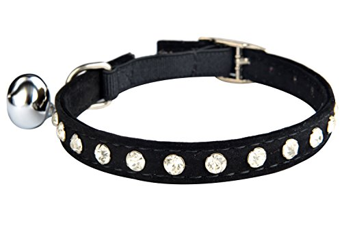 KOOLTAIL Black Velvet Safety Elastic Belt Rhinestones Crystal Jeweled Cat Collars with Bell 8-10.5 Inches