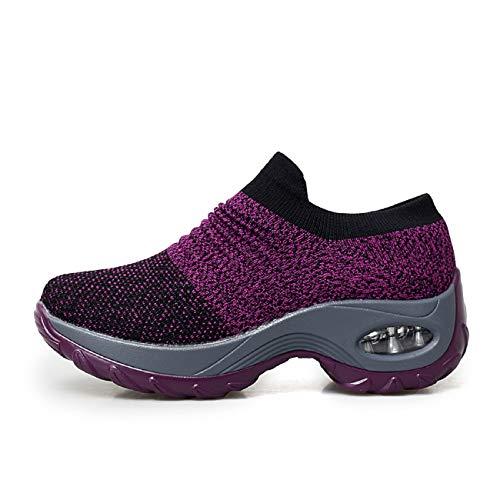 Mujer Zapatillas Para Tacón 4 Tqgold® Morado Altas 5cm Deporte Cuña De TAnwYdq