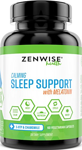 Natural Sleeping Aid - Nighttime Sleep Support Supplement - With 100 MG 5 HTP + Magnesium to Fall Asleep Fast - Chamomile & Melatonin for a Calm & Restful Night - Non Habit Forming - 60 Capsules