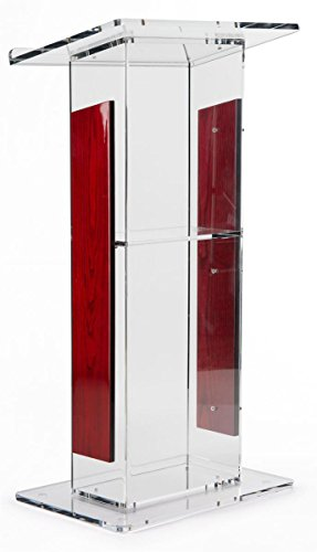 Acrylic Lectern with Mahogany Accent Panels, Includes Removable Shelf, 1-Inch Lip On Podium Surface, Easy To Assemble, Hardware Included - 45-34'' H x 23-1/2'' W by Displays2go