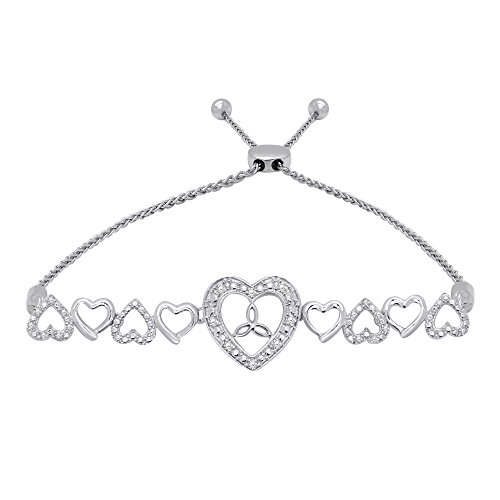 omega jewellery Sterling Silver Round Diamond Heart Bolo Bracelets For Women (0.10 Ct), ()