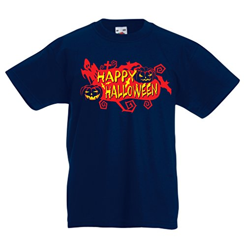 T Shirts for Kids Owls, Bats, Ghosts, Pumpkins - Halloween Outfit Full of Spookiness (12-13 Years Dark Blue Multi -