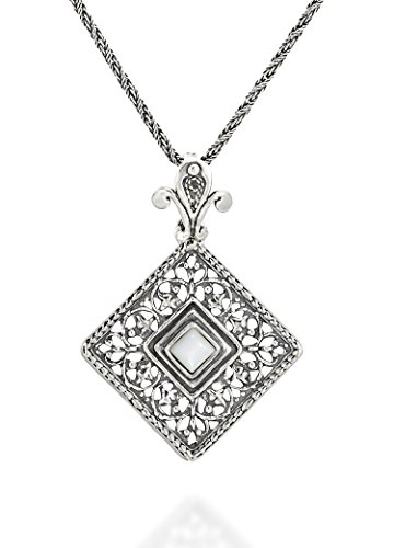 Silver Pendant Handmade Sterling Cabochon (Antique Style Filigree Square Mother of Pearl Pendant with Decorative Bail Sterling Silver Necklace, 20