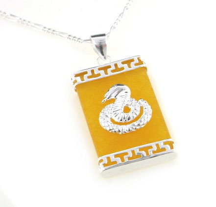 Genuine 925 Silver Jade Necklace (Cobra Snake on Genuine Yellow Jade Sterling Silver Pendant 24