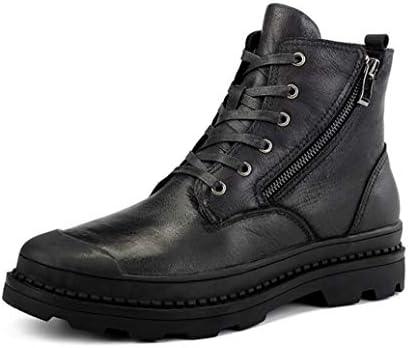 ワークブーツ 冬靴 防水 防滑 ラウンドトゥ ショートブーツ レースアップ 革靴 メンズ 厚底 マーティンブーツ アウトドア エンジニアブーツ 裏起毛 冬用 スノーブーツ ウォーキングシューズ 安全靴レインブーツ