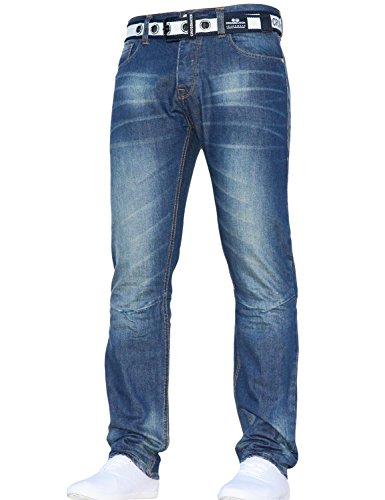 Droite Toutes Moyen Classique Standard Avec Gamo Tailles Jeans Ceinture Coupe Hommes Élégant Crosshatch Bleu bYy6fg7v