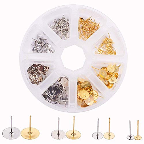 PandaHall Elite 200 Pcs Brass Earrings Posts Stud Blank Earring Pin Backs Flat Pad Earring Finding 4mm 6m 8mm 10mm for Jewelry Making Silver and Golden ()