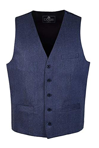 (Lloyd Attree Classic Navy Blue Herringbone Tailored Fit Wool Waistcoat Vest Gilet with Contrast Paisley Print Backing)
