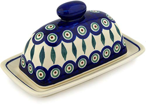 Pottery Leaf Dish - Polish Pottery 7½-inch Butter Dish (Peacock Leaves Theme) + Certificate of Authenticity