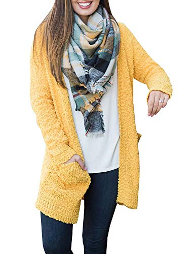 Crochet Fuzzy - Seraih Womens Fuzzy Fleece Sherpa Open Front Cardigans Sweaters Outwear Jacket Coat with Pocket Yellow