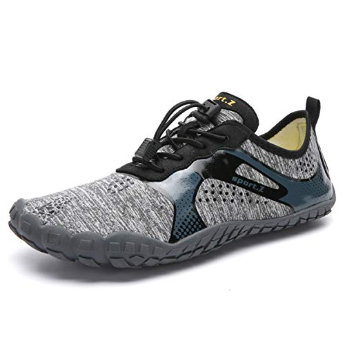 Water Shoes for Men Barefoot Quick-Dry Aqua Sock Outdoor Athletic Sport Shoes for Kayaking, Boating, Hiking, Surfing, Walking (M-Light Gray, M11.5/45)