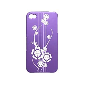 Water & Wood Carved Flower Print Rubberized Hard Plastic Purple Cover for Apple iPhone 4