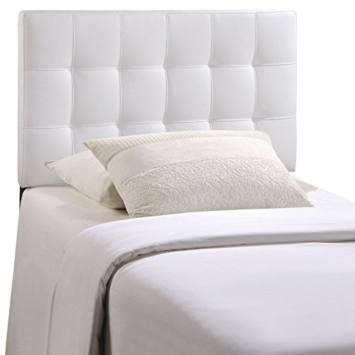 Modway Lily Twin Upholstered Vinyl Headboard in White (White Tufted Twin Bed)
