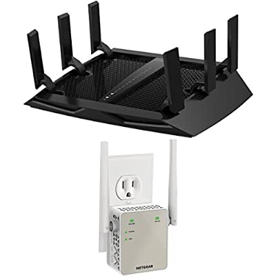 NETGEAR Nighthawk X6 AC3200 Tri-Band Gigabit Wi-Fi Router (R8000) & Netgear AC1200 WiFi Range Extender - Essentials Edition (EX6120-100NAS) Bundle