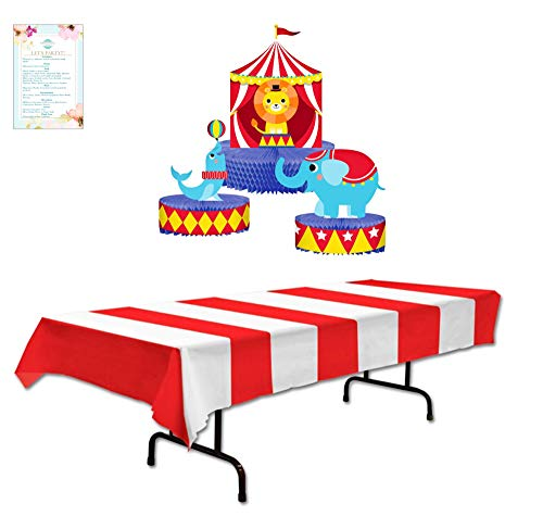 Striped Circus Table Cover and 3 Piece Circus Centerpiece (with Party Planning Checklist)