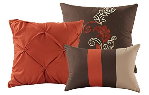 Napa by Chezmoi Collection - 7-piece Luxury Leaves Scroll Embroidery Bedding Comforter Set (Queen, Rust Orange/Taupe/Brown)