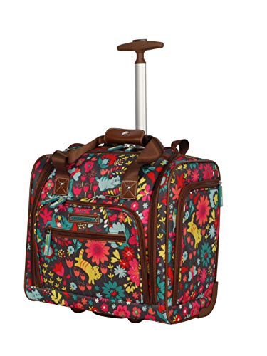 Lily Bloom Under the Seat Design Pattern Carry on Bag With Wheels (One Size, Playful Garden Gray)