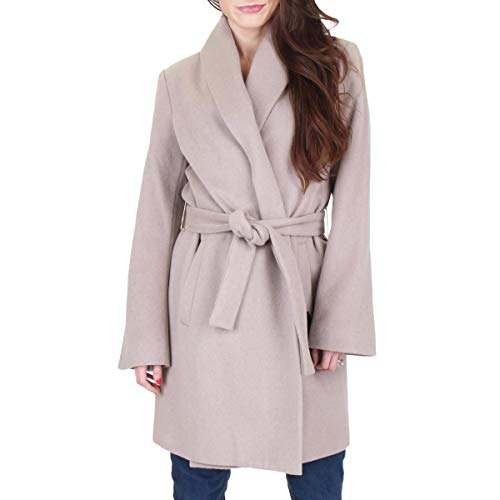 T Tahari Women's Gabrielle Long Wool Coat with Tie Belt, Brown Sugar, Large