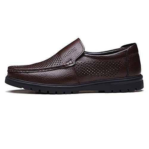 Genuino on Color Meimei Perforación BN Opcional de Caballeros Slip Cuero Hombre tamaño 42 EU único para holgazán Zapatos Plano de Vaca de shoes Piel de Superior Perforación xwrCOqYw